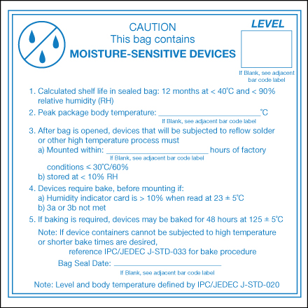 "4 x 4"" - ""Caution Moisture Sensitive Devices"" Labels"